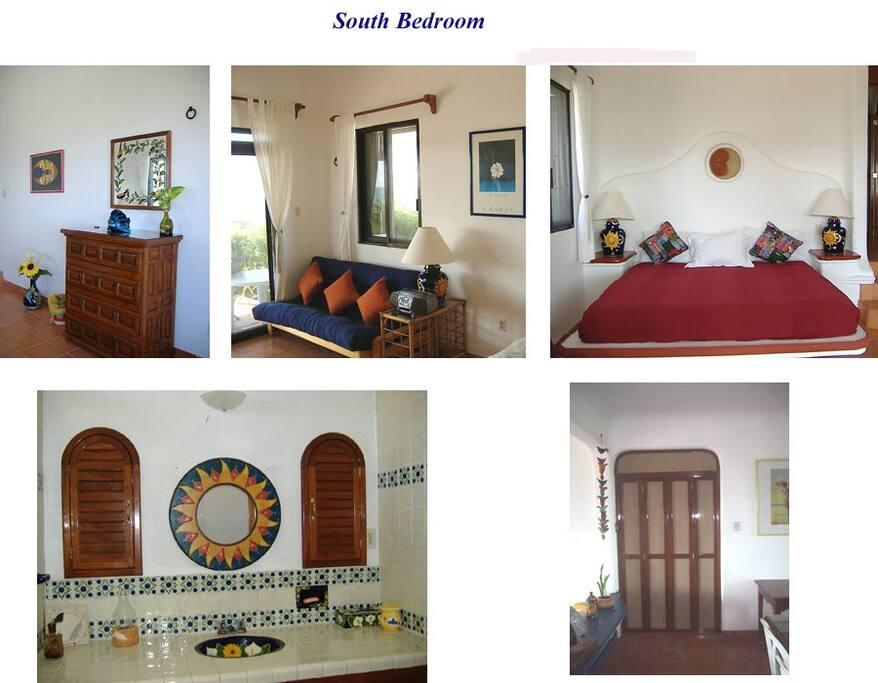 Your bedroom & en suite bath with KS bed & double bed futon