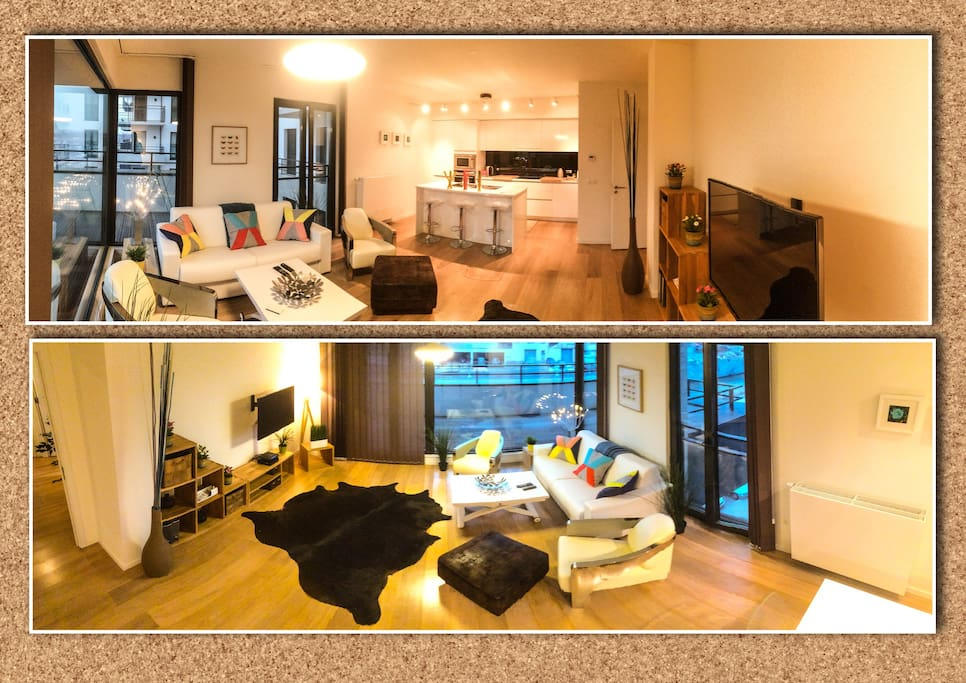 Elegant spacious and luminous apartment in front of Tour & Taxi, near the canal for 6 persons maximum. Large living-room with a big TV screen, câble and Internet access,  fully furnished open kitchen, laundry and a beautiful terrasse on the canal.