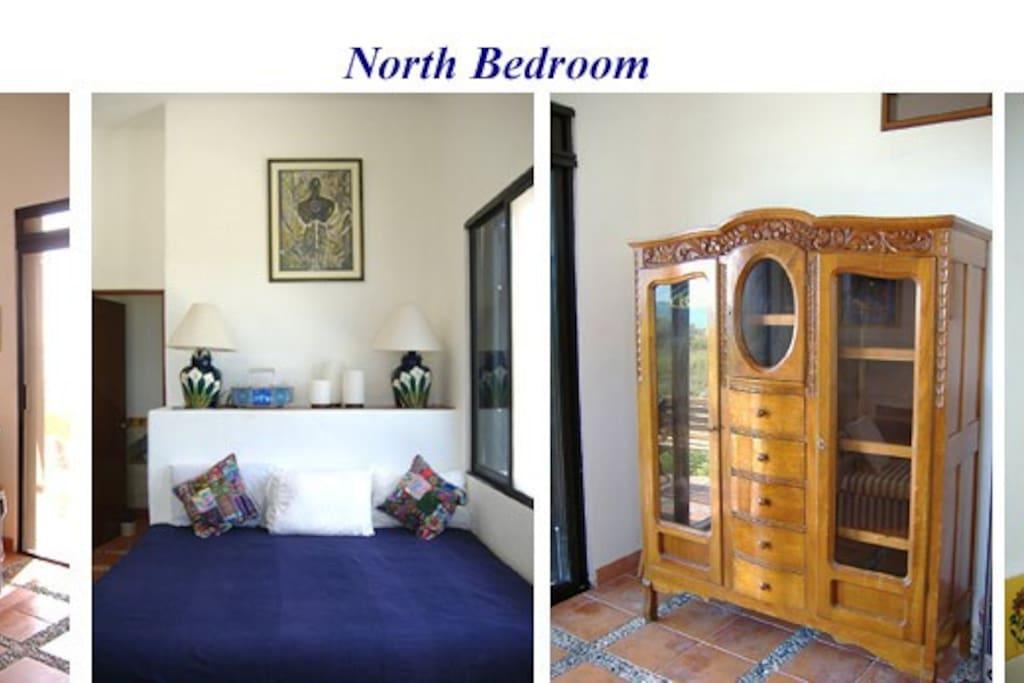 Your bedroom with KS bed, love seat, armoire & en suite bath.