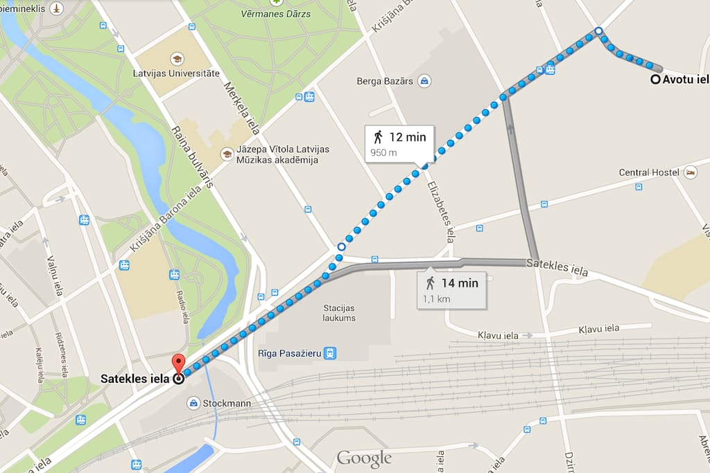Route from the Stockmann Shopping center after you get off the bus Nr 22 from the airport.