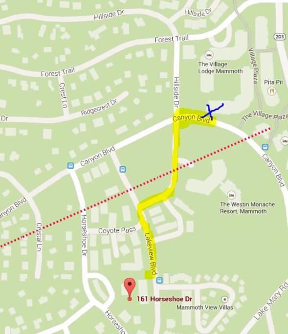 5 minute walk to village