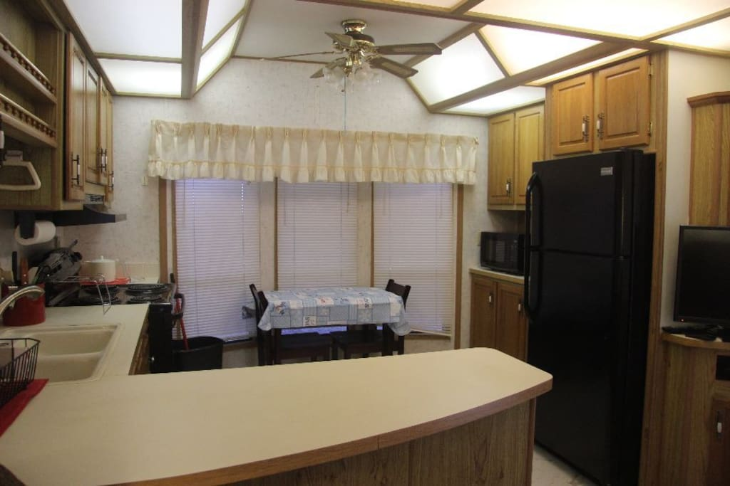 Large well lit kitchen.