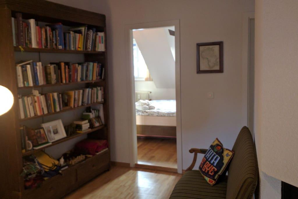 Bookshelf, room entrance