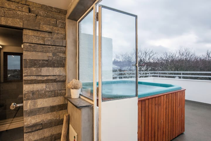 ROOFTOP SPA & PRIVATE BATH DOWNT. 2 - Reykjavik - Huis