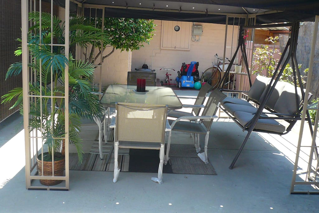 Outside dining area and swing to enjoy