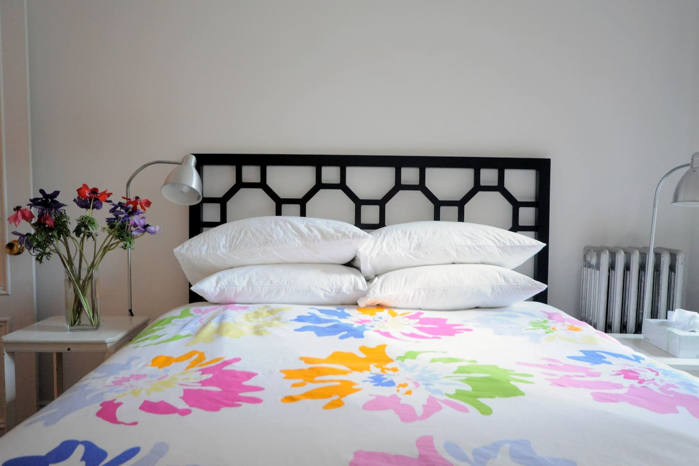queen-sized bed purchased in 2011 - super comfortable with fresh cotton sheets