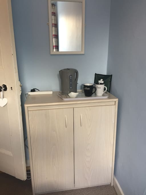 Cupboard space with hot drink facilities