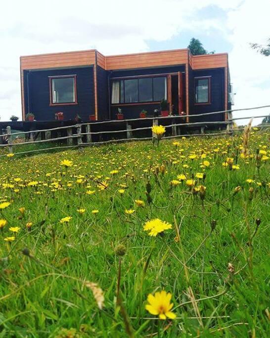 Cabaña equipada, nueva y con un bello entorno chilote