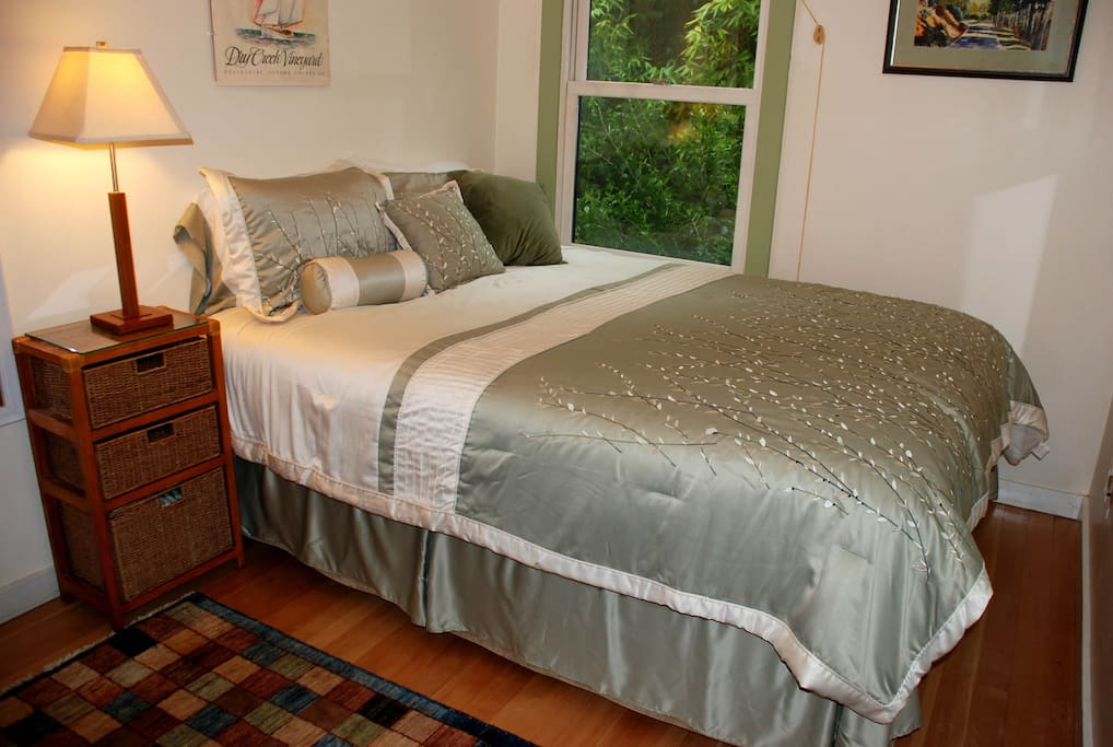 Front bedroom with pillow top Serta double bed mattress,blue cotton quilt lines option available