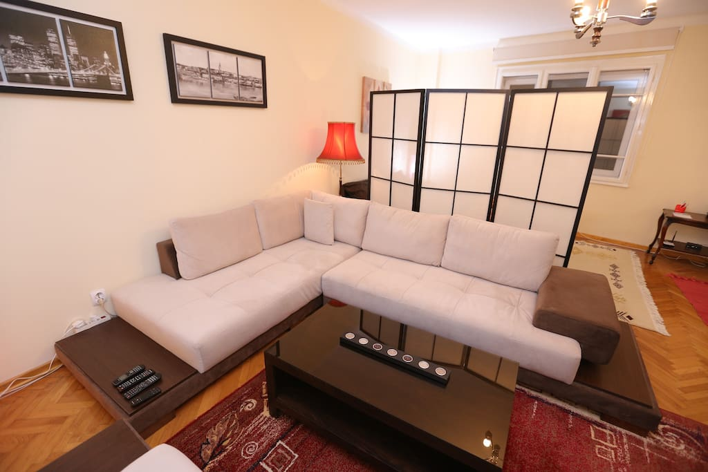 Relax in spacious lounge area. All photos are taken at night time, the apartment is actually very bright...