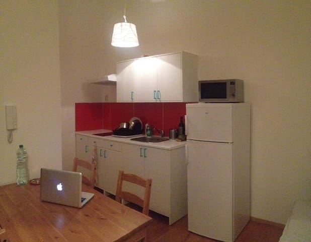 Fully equipped kitchen with ceramic glass cocktop, fridge, micro wave, table and 4 chairs
