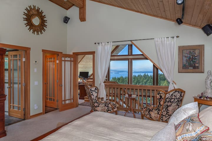 Sitting area in the master bedroom with lovely views to wake up to and go to sleep with