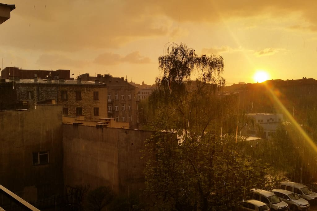 Sunset on a rainy evening from the balcony