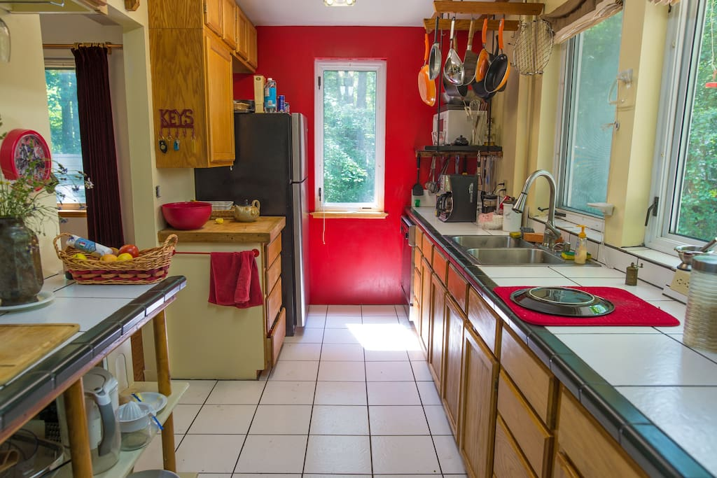 The kitchen is bright and spacious, with everything you need to enjoy cooking