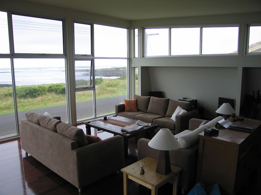 Comfortable sofas to watch the ocean and if you're very lucky, the occasional whale.