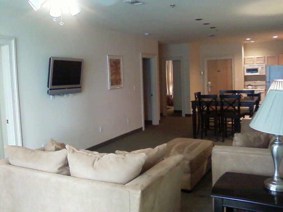 Living room area with sofa sleeper