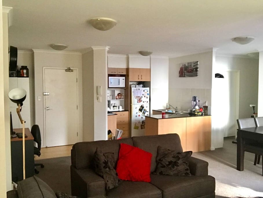 Spacious living room, with Foxtel TV