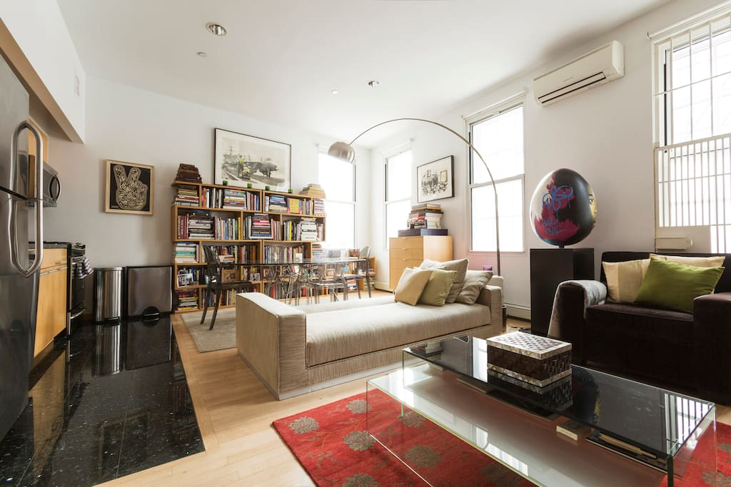 LARGE Loft Space Living Area 650 sqft with exposed brick, open kitchen and Fire Escape - corner exposure