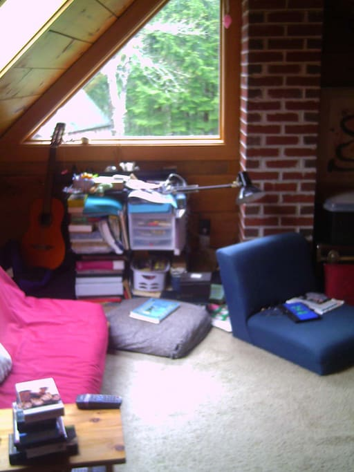 The loft with futon (mess is gone)