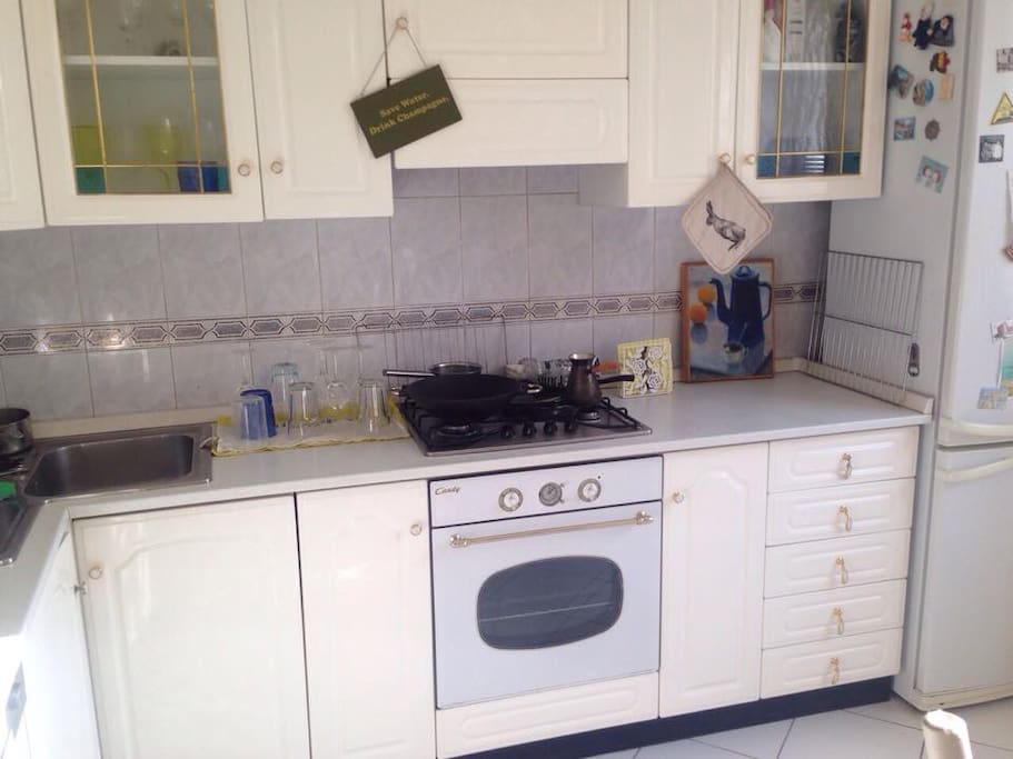 kitchen is equipped with oven, dishwasher and multicooker