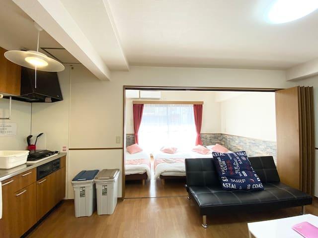 R-505  Lovely 2 bedroom Near  Peace Park,Wifi ♪