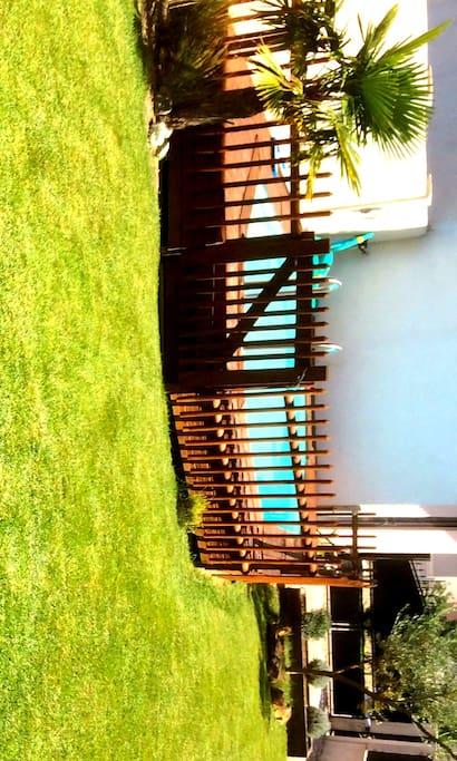Jardin et piscine semi-enterrée