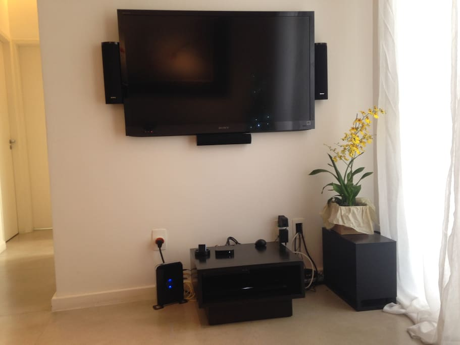 Large-screen TV + cable + Wi-Fi