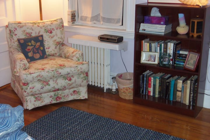 Lovely reading armchair for curling up in and books to sample.