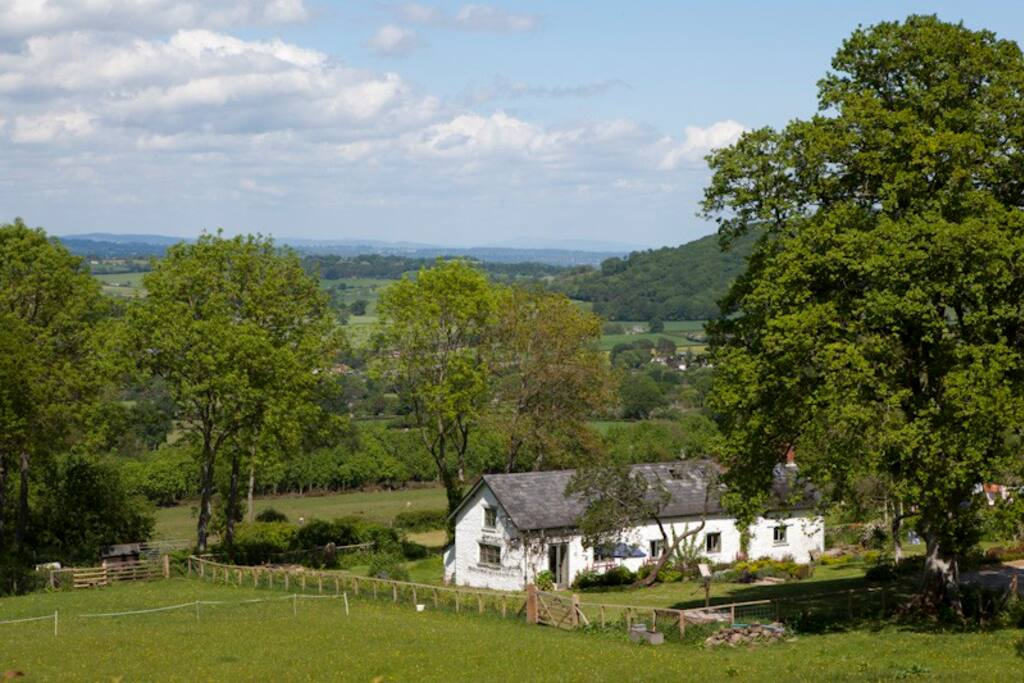 Secluded position on a hillside overlooking the book town of Hay-on-Wye