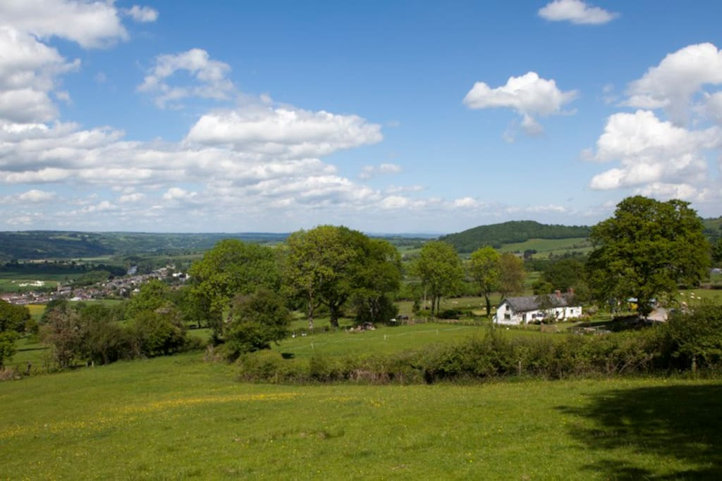 Expansive views overlooking the book town of Hay and the River Wye