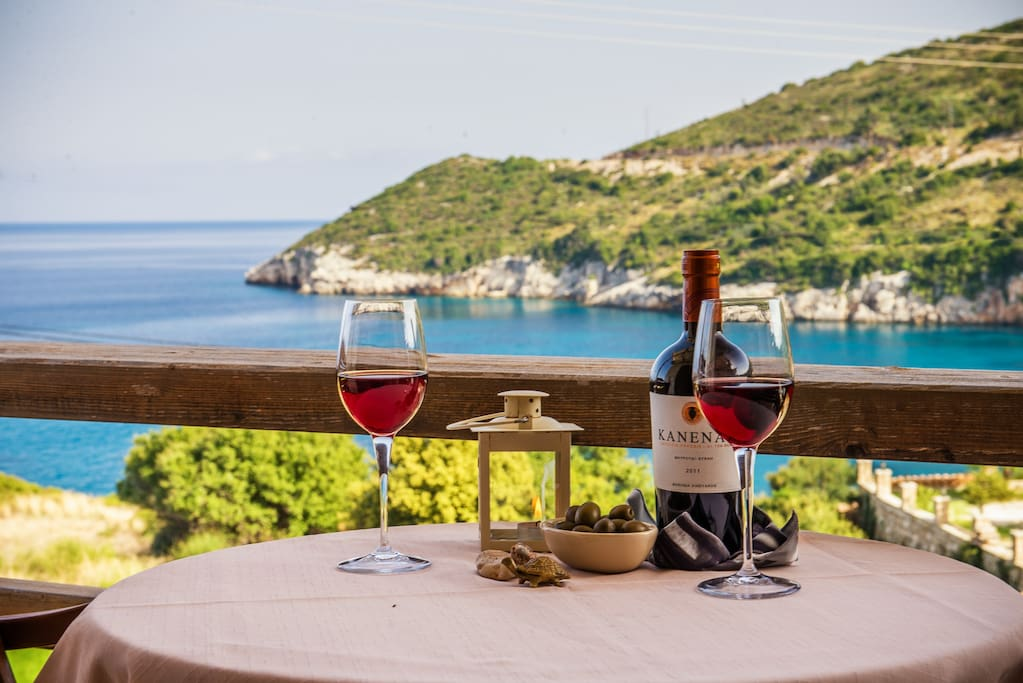greek wine, sun and the clear blue ionian sea!
