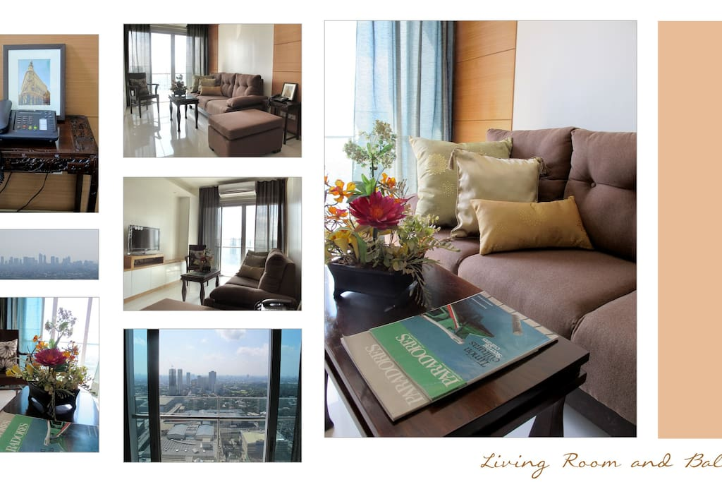 Living Room and Balcony (with panoramic views of Manila Bay, the Makati skyline and Wack Wack Golf course)