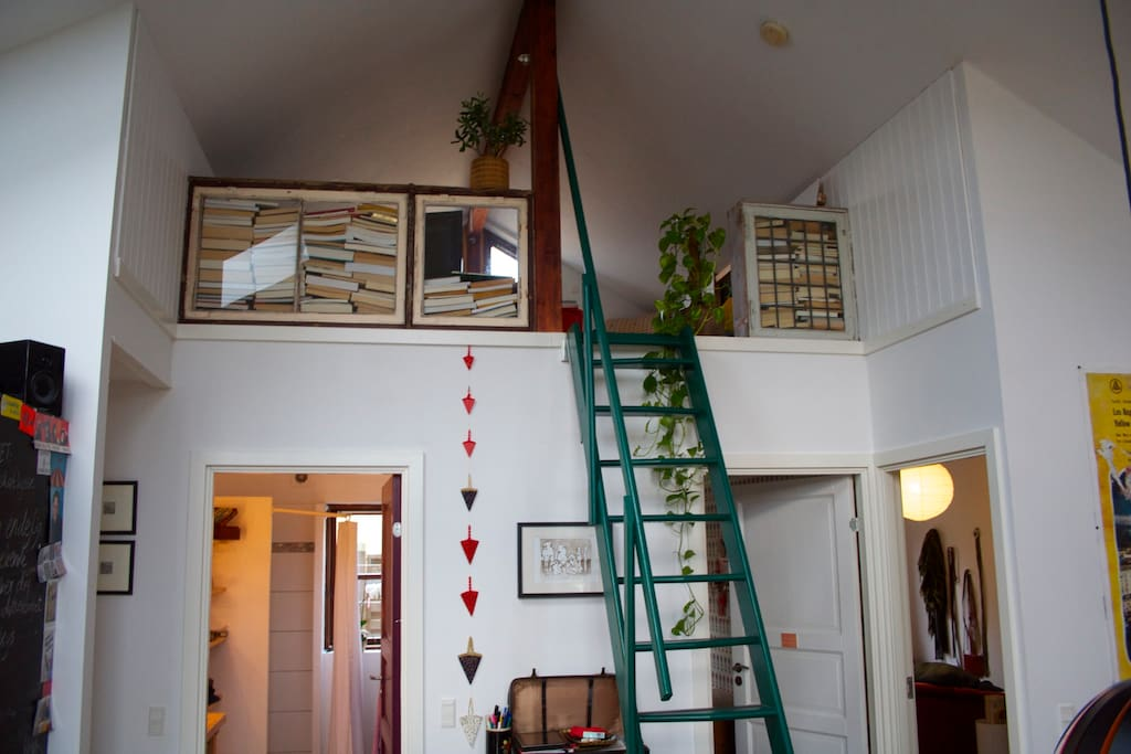 The stairwell to the loft where you'll find the TV - and a great view!
