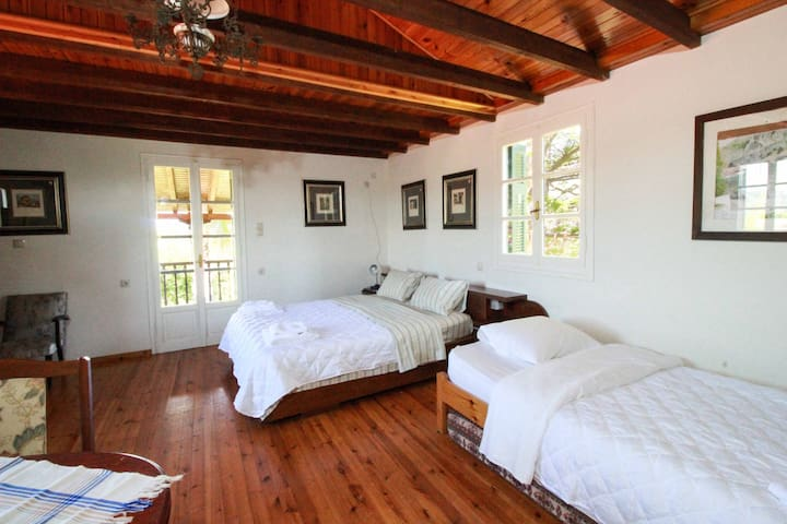 Studio main space. 1 Double bed + 1 Single bed (with extra mattress). TV. Airconditioner.