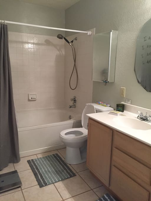 Double vanity with a garden tub