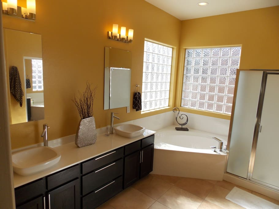 Large private master bath, includes soaker tub and separate shower.