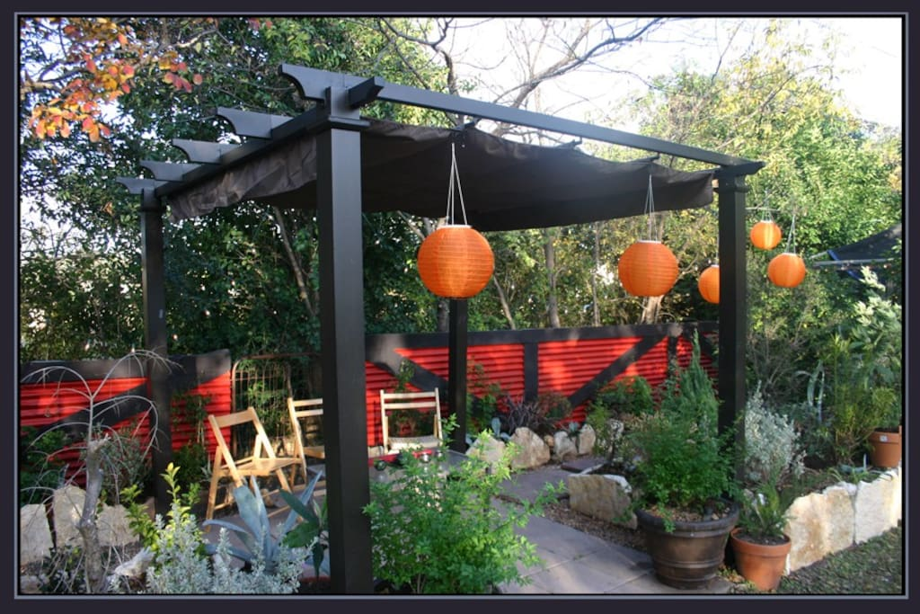 New! Pavilion area of the new asian garden. Stroll thru the gate to the field to pick wildflowers or enjoy the scenery