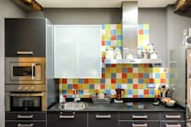 Kitchen with all facilities and breakfast.
