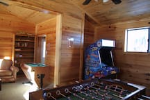 Game room with replica arcade game
