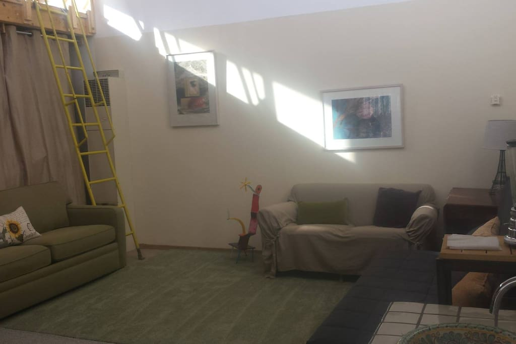 This is the living room. It has a pull out couch and sofabed. You can see the ladder to the loft.