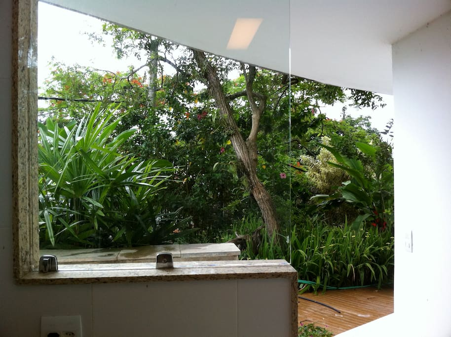 Vista da cozinha para jardim privativo.