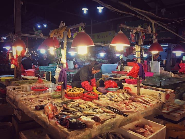 市区的海鲜市场