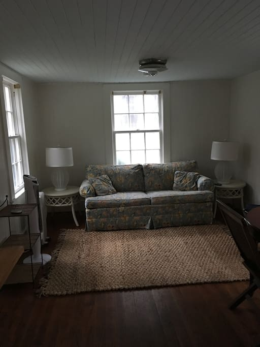 Living area with full-size sleeper sofa, table and chairs at a table for 2. TV with wifi (not a smart tv and no cable). The main house is close as you can see from the window but the entry door and parking make the cottage private as they face away from the house.