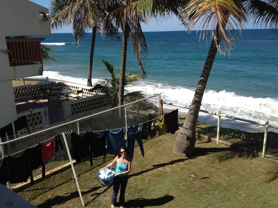 View from the porch.  Yes, we do laundry.