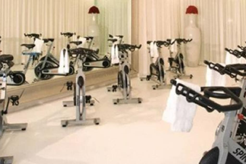 Why not take a spin class in the cycling studio?