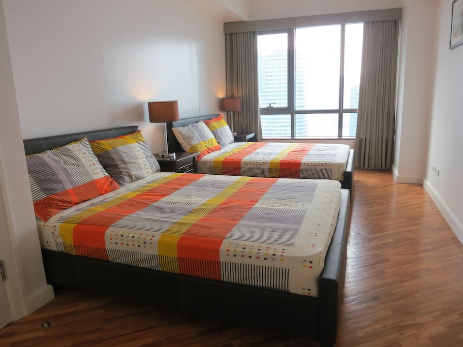 Spacious bedroom with 2 x double beds