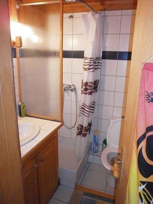 Bain/Bathroom/Bad mit Dusche, WC und Waschbecken