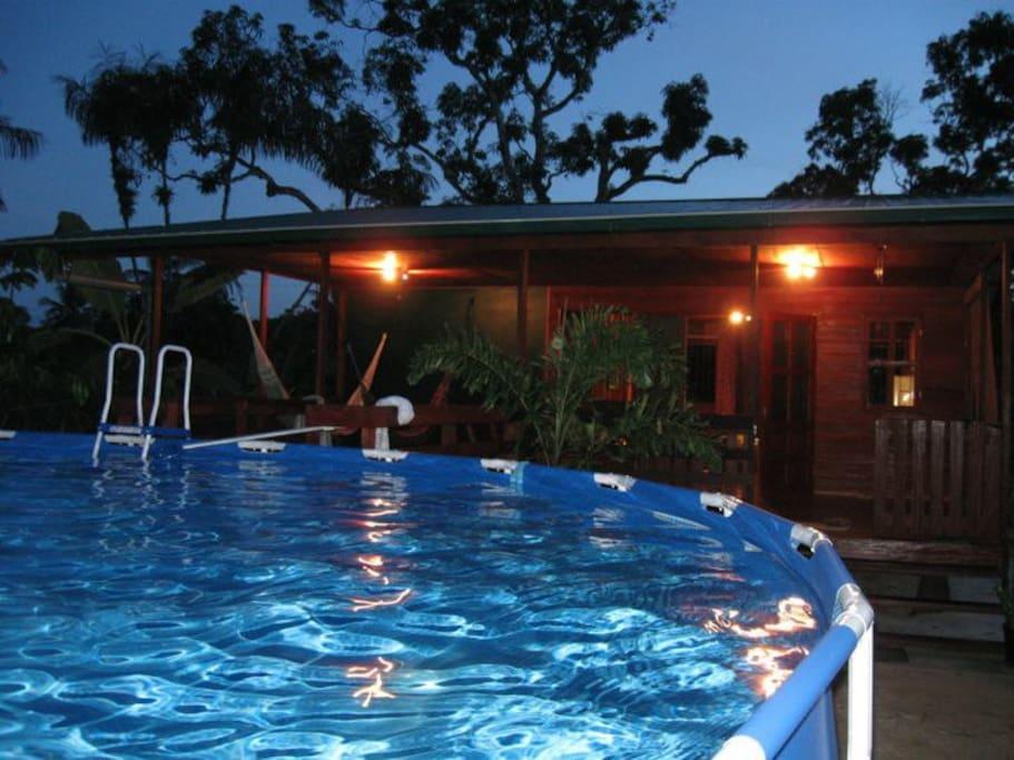 Zwembad met zicht op de achter veranda met hangmat.