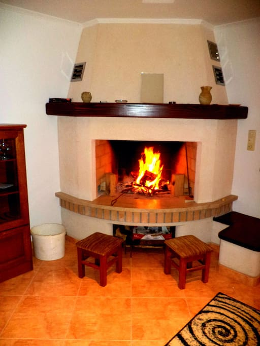 The inside fireplace
