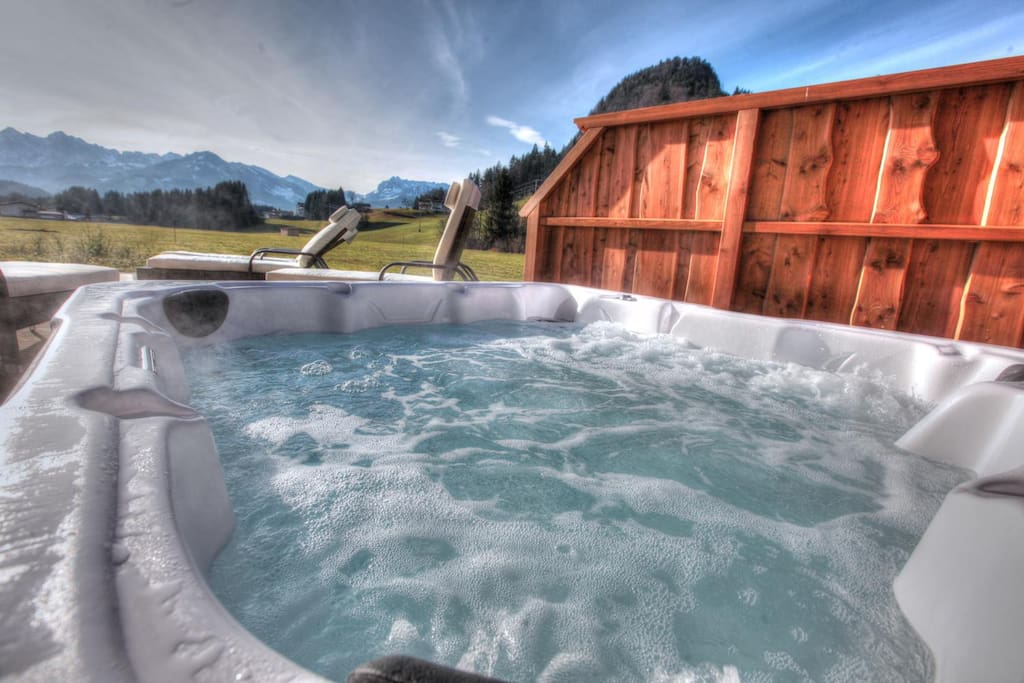 Get yourself a relaxing massage while watching the stunning summits of Wilder Kaiser